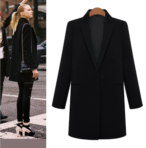 New Fashion Women Coat Notched Collar Pockets Long Casual Warm Overcoat Outerwear Black