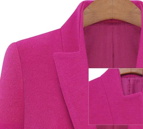 Новые женской моды пальто зубчатый воротник карманы долго случайные теплое пальто пуховики Роуз