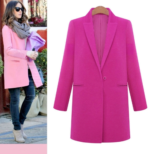 New Fashion Women Coat Notched Collar Pockets Long Casual Warm Overcoat Outerwear Rose