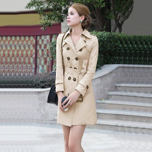 New Fashion Women Long Coat Double Breasted Belted Waist Turn-Down Collar Trench Coat Outerwear Khaki