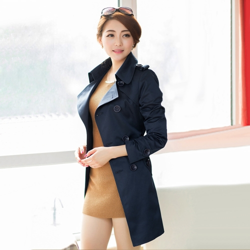 New Fashion Women Long Coat Double Breasted Belted Waist Turn-Down Collar Trench Coat Outerwear Dark Blue