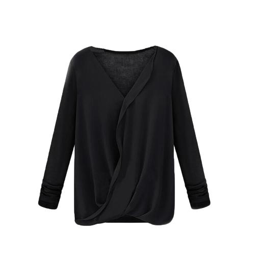 Nuevo estilo mujeres blusa de Gasa Patchwork abrigo frente V cuello manga larga Sexy Tops sueltos negro