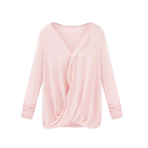 Mulheres de estilo Nova blusa Patchwork do Chiffon Wrap frente V pescoço manga longa Sexy Tops soltos rosa