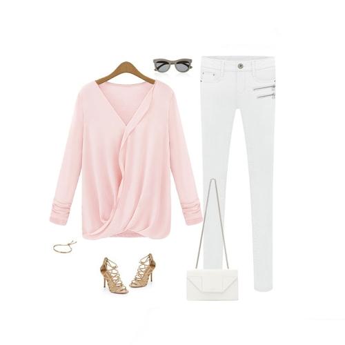 TOMTOP / Mulheres de estilo Nova blusa Patchwork do Chiffon Wrap frente V pescoço manga longa Sexy Tops soltos rosa
