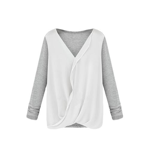 Nuevo estilo mujeres blusa de Gasa Patchwork abrigo frente V cuello manga larga Sexy Tops sueltos blanco