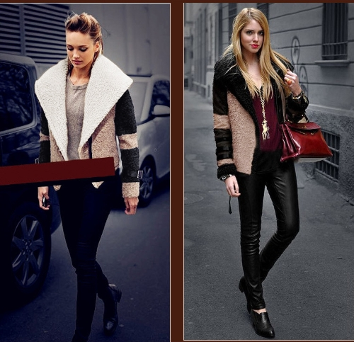 Fashion Women Coat Turn-down Collar Big Lapel Outerwear Short Belted Jacket Thick Warm Overcoat Beige Lapel