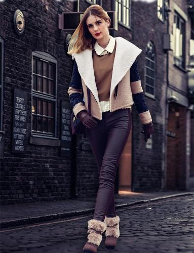 Moda mujer abrigo descubierta cuello solapa grande abrigos chaqueta corta con cinturón gruesa caliente abrigo Beige solapa