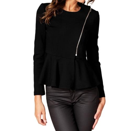 Nueva moda mujer mujer delgada capa volantes Hem Peplum manga larga cremallera finas prendas de abrigo corto negro