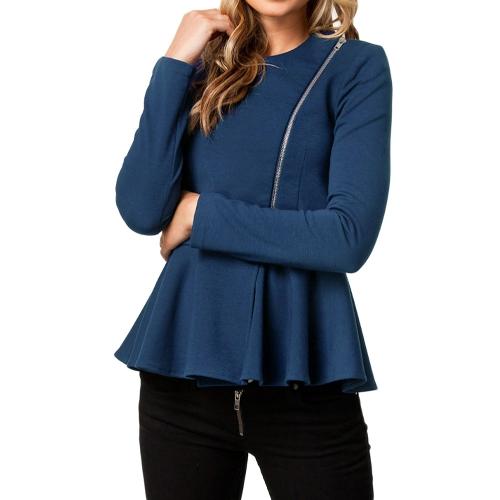 Nowa moda damska damska czapka z daszkiem cyrkonia Hem Peplum Long Sleeve Zipper cienka Krótka Kurtka Niebieski