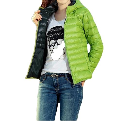 Sudaderas para mujer moda acolchada Color caramelo Zip fino abrigo abrigos corto verde