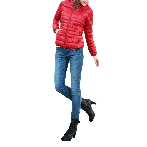 Moda mulheres Hoodies acolchoado cor Candy Zip fino casaco curto Outerwear vermelho