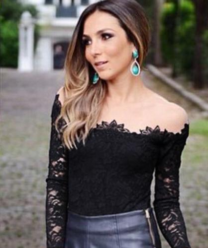 Nova moda mulheres blusa malha ombro mangas compridas Floral Lace camisa básica Tops preto