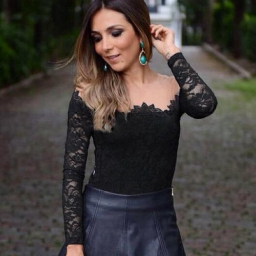 Nueva moda mujeres Sexy blusa malla hombro manga larga encaje Floral camiseta básica tapas negro