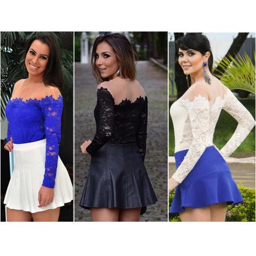 Новые моды женщин сексуальная блузка Сетка плечо длинными рукавами цветочные кружева основные рубашка топы белый фото