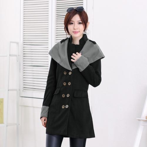 Otoño invierno moda mujer capa contraste solapa grande Breasted doble hombreras ropa de abrigo negro