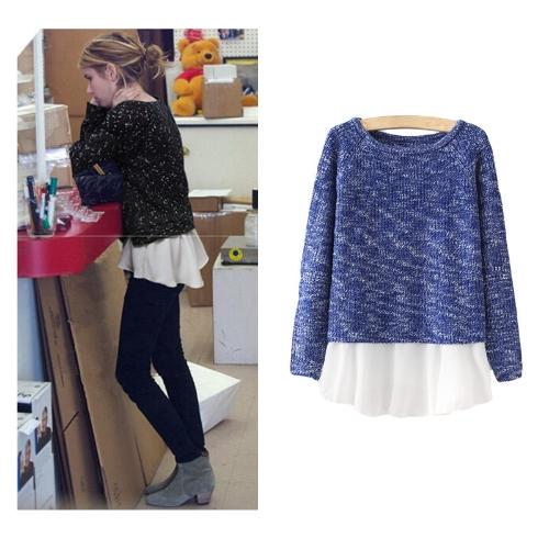 Nuevo moda mujer prendas Patchwork gasa dobladillo manga larga jersey Casual suéter puente