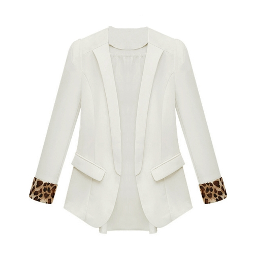 Nueva moda mujeres chaqueta de gasa fina leopardo puños bolsillos decorativos casuales capa delgada abrigos y chaquetas chaqueta blanco