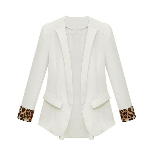 Nova moda mulheres fina do Chiffon Blazer leopardo algemas Outwear bolsos decorativos Casual fino casaco jaqueta branca