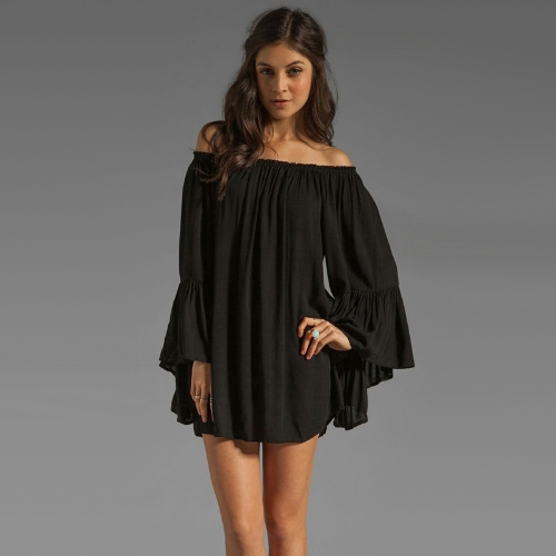 Europa moda mujer Boho Vestido de gasa fuera del hombro Flare manga Sexy Mini vestido negro