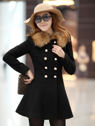 Nowi Moda Kobiet Płaszcz Podwójna Piersiowa Faux Koła Długa Rękawa Elegancka Cieplna Outerwear Czarna