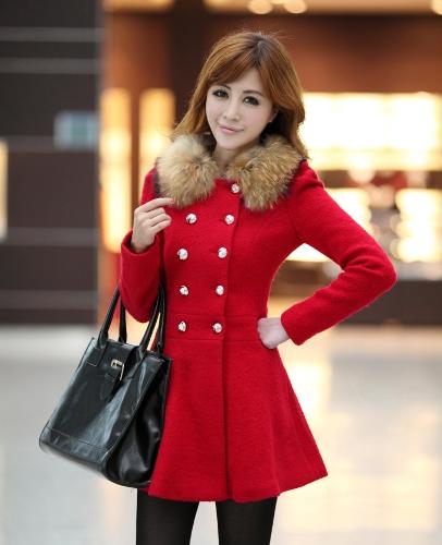 Nueva moda mujer abrigo doble Breasted chaqueta Collar manga larga elegante ropa caliente rojo