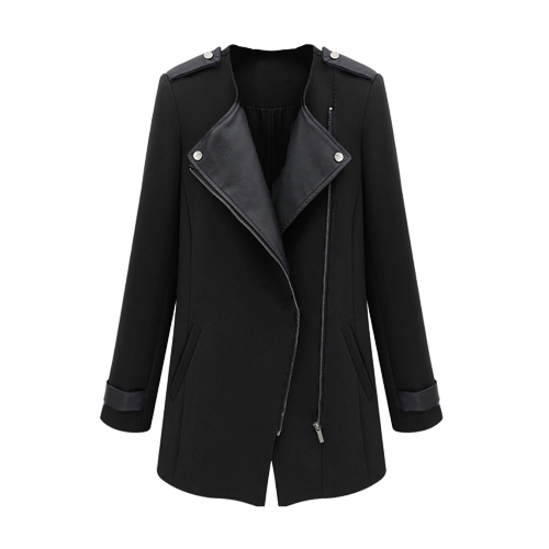 New Fashion Women Coat PU Leather Patchwork Zipper Front Ciepła Kurtka Wytnij Trench Black