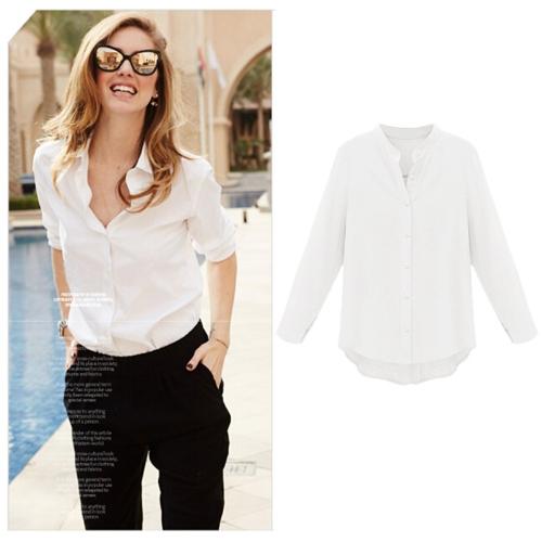 Nueva Europa mujeres blusa V cuello manga larga asimétrico dobladillo señora trabajo Casual Tops
