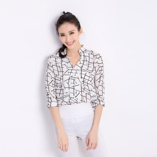 Fashion Women Chiffon Blouse Contrast Pattern Buttons Asymmetric Hem Stand Collar 3/4 Sleeves Shirt Tops