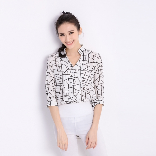 Fashion Women Chiffon Blouse Contrast Pattern Buttons Asymmetric Hem Stand Collar 3/4 Sleeves Shirt Tops