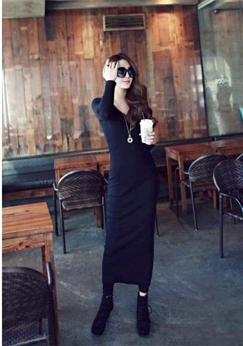 Vestido largo de punto de moda coreano las mujeres Maxi vestido manga larga mitad de la pantorrilla Color puro