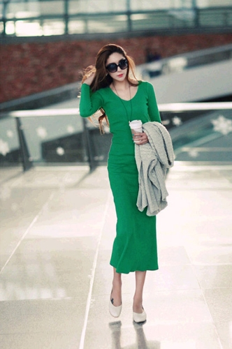 Korean Fashion Women Maxi Sukienka Mid-Calf Long Sleeve Kolorowa Trykotowa Długa Dzianina