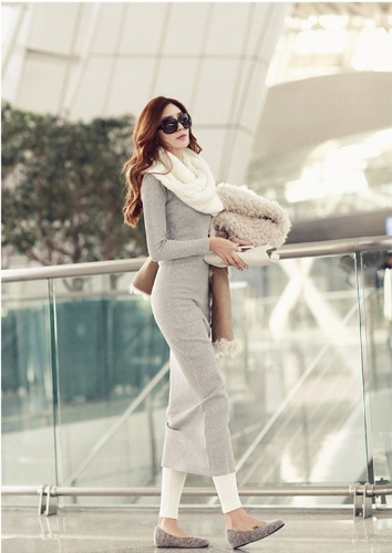 Korean Fashion Women Maxi Dress Mid-Calf Long Sleeve Pure Color Knitted Long Dress