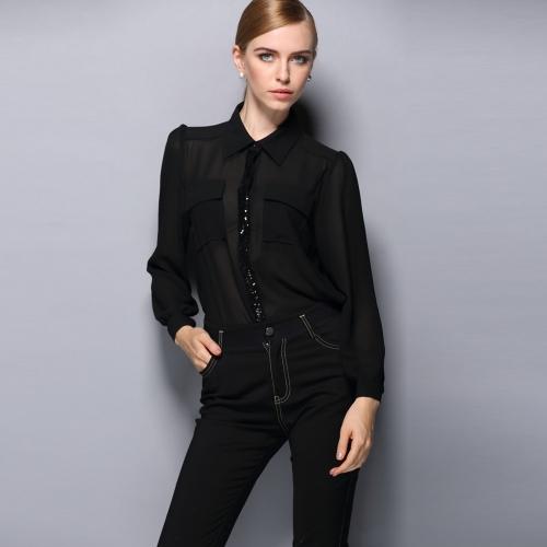 Europe Sexy Women Chiffon Shirt Sequin Turn-down Collar Long Sleeve OL Lady Casual Blouse Top