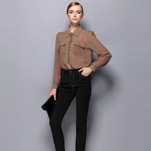 Europa mujeres Sexy camisa gasa lentejuelas descubierta cuello manga larga OL dama Casual blusa Top