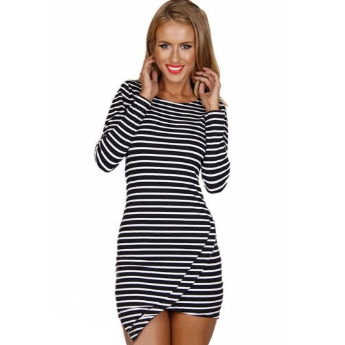 Chic Horizontal Stripe Asymmetric Hem Long Sleeve Mini Dress