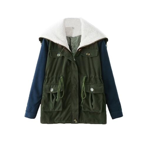 New Korean Women Coat Fleece Collar Patchwork Long Sleeve Zip Overcoat Vintage Outerwear