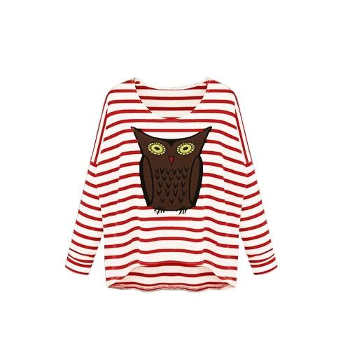 Nowa moda damska koszulka Sowa linia Stripe Crew Neck Batwing Long Sleeve Casual Top Bluzka