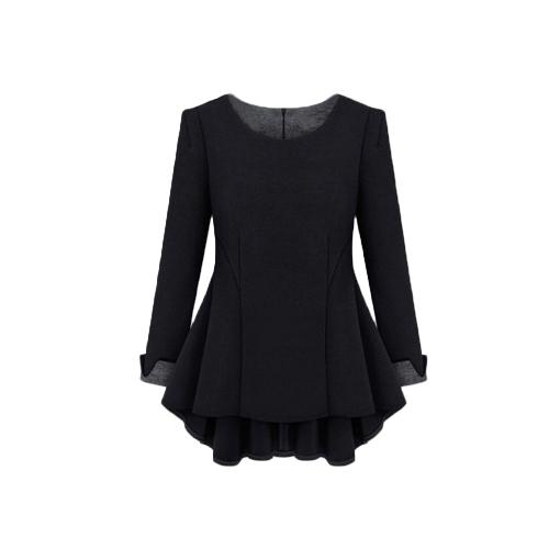 Neue Mode Frauen Kleid Kontrast O-Neck Langarm asymmetrischen elegante lose Kleid
