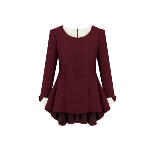 Nueva moda mujeres vestido contraste manga larga O cuello asimétrico elegante vestido suelto