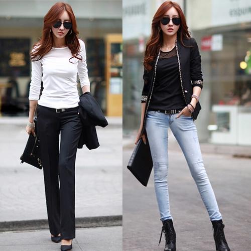 Nueva moda mujeres coreanas camiseta malla mosaico redondo Top Casual de manga larga de cuello