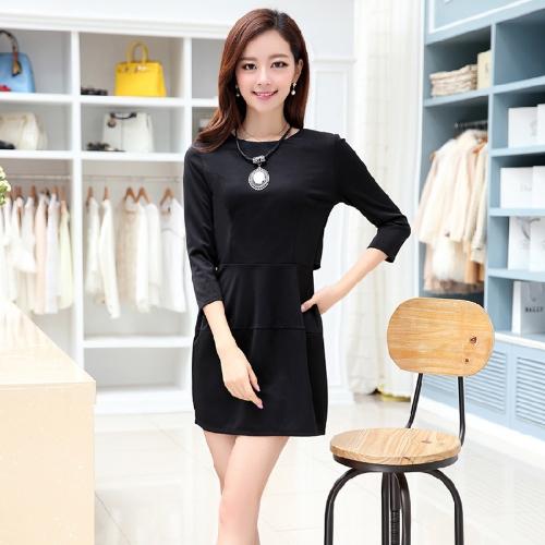 Nuova moda donna vestito tallone Zip indietro O-collo tre quarti abito manica sottile elegante