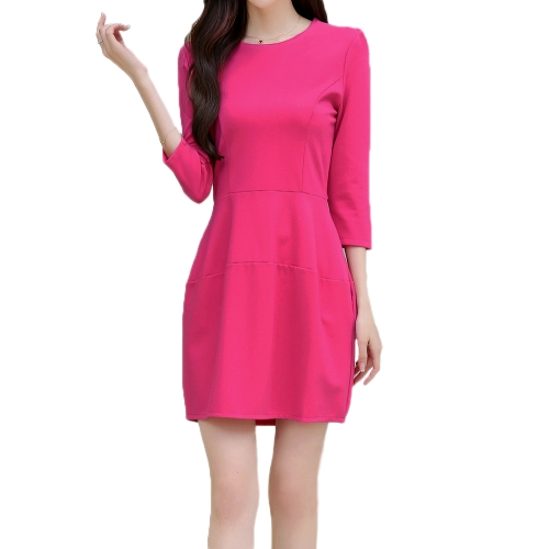 Nueva moda mujer vestido grano Zip Slim elegante vestido de espalda O cuello tres cuartos manga