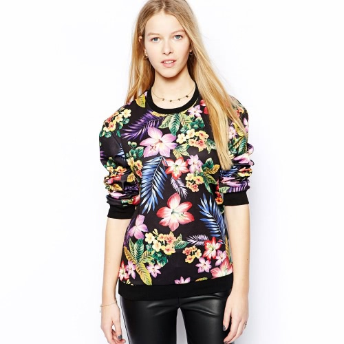 New Europe Women Pullover Vintage Floral Print Crew Neck Long Sleeve Casual Sweatshirt Tops