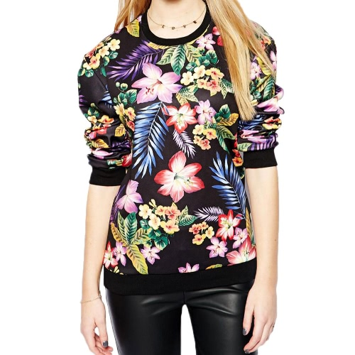 New Europe Women Pullover Vintage Floral Print O-Neck Long Sleeve Casual Sweatshirt Tops