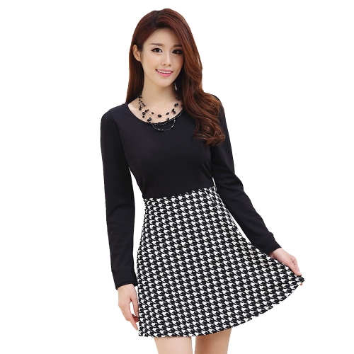New Europe Women Dress Houndstooth Pattern Crew Neck Long Sleeve Mini Dress Black Tops