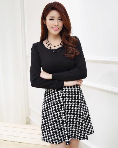 Tapas de la nueva Europa mujer vestido elegante patrón del Houndstooth Zip nuevo redondo cuello Puff manga larga vestido Mini negro