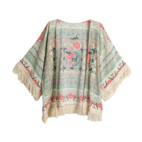 Nueva blusa de Cardigan Retro mujeres Kimono Boho franja impresión Floral chal suelto frente abierto