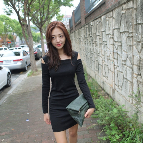 Корейский мода женщин платье Открытое плечо квадратных шею длинный рукав сексуальный тонкий мини-платье фото