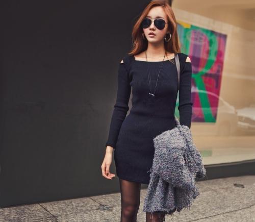 Cuello Coreano moda mujer vestido abierto hombro cuadrado manga larga Sexy Slim Mini vestido de fiesta