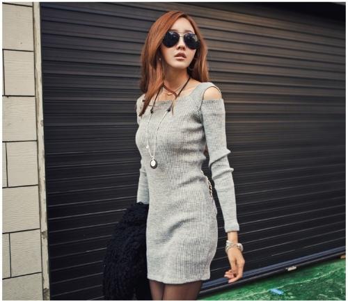 Korean Fashion Women Dress Open Shoulder Square Neck Long Sleeve Sexy Slim Party Mini Dress